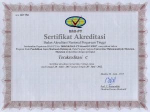Pendidikan Guru Madrasah Ibtidaiyah (Reakreditasi dari C ke B)
